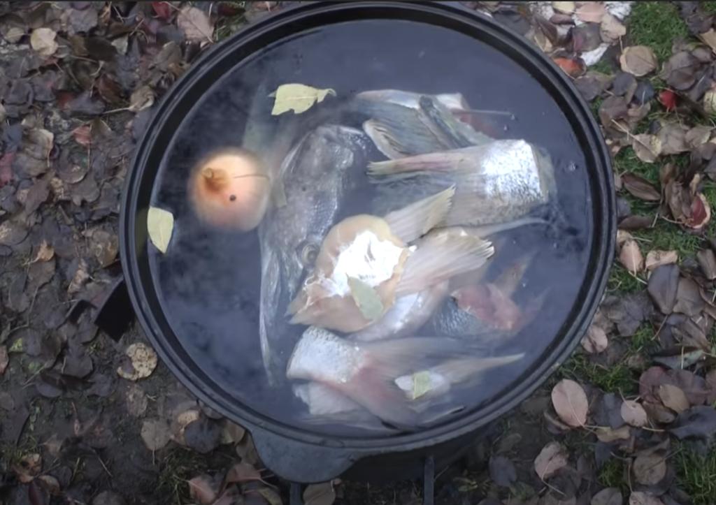 Настоящая рыбацкая уха с водкой и поленом (на костре или  плите )